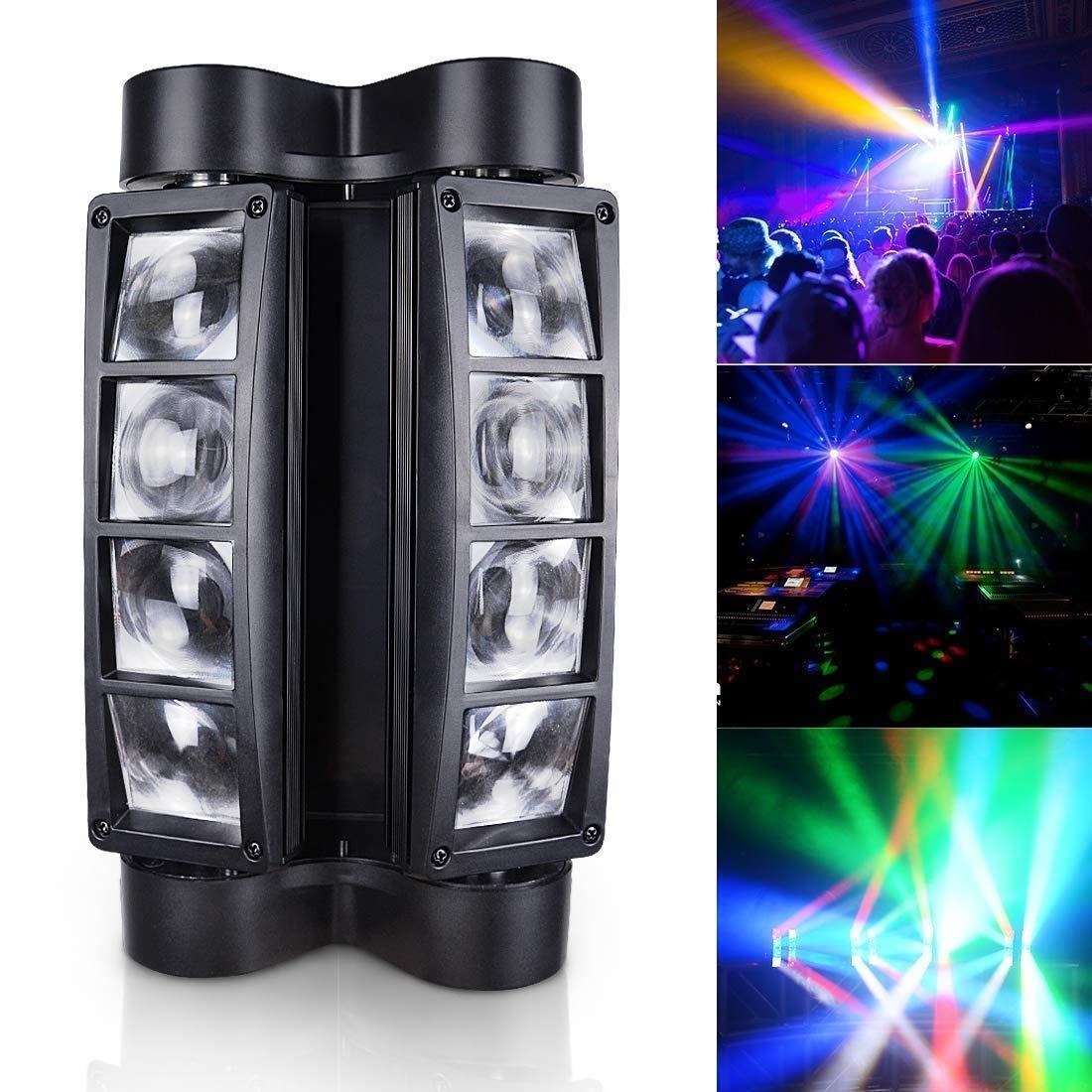 Youtree Spider Spot Moving Head Light LED DJ Lighting RGBW, 8 x 3W DMX 512 Dual Sweeper Pulse Strobe Effect, for Restaurant,Live,Concert Lighting Light