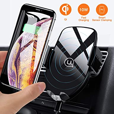 Wireless Car Charger Mount, USAMS Auto Clamping 10W Qi Fast Charging Car Air Vent Phone Holder for iPhone Xs Max XR XS X 8 Plus, Samsung Galaxy S10 S10 S9 S8 S8 Edge Note 5 and More