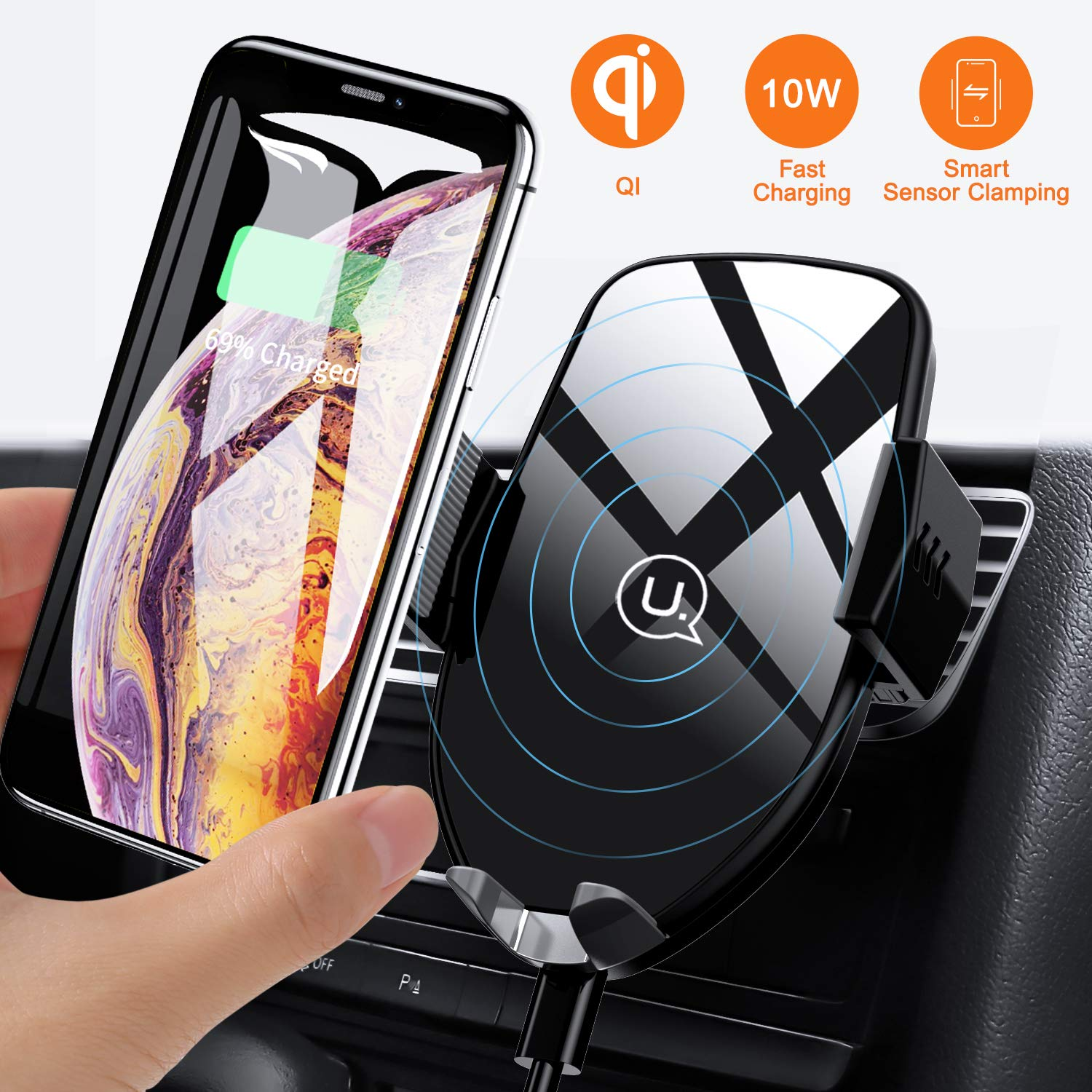 Wireless Car Charger Mount, USAMS Auto Clamping 10W Qi Fast Charging Car Air Vent Phone Holder for iPhone Xs Max/XR/XS/X/8 Plus, Samsung Galaxy S10/S10+/S9/S8/S8+ Edge Note 5 and More