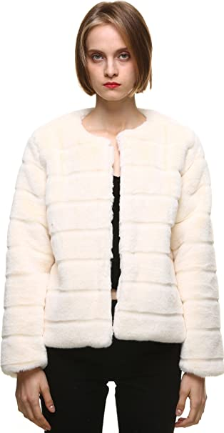 vogueearth WomenFaux Fur Rex Rabbit Autumn Winter Coat Jacket XS/S Beige at Amazon Womens Coats Shop