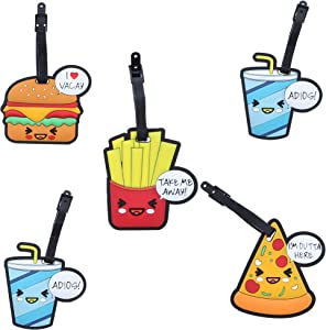 Set of 5 Luggage Tags Suitcase ID - Fun Food
