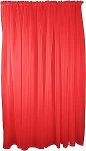"RED Voile Rod Pocket Curtain Drape 59X54"" 150X137CM"