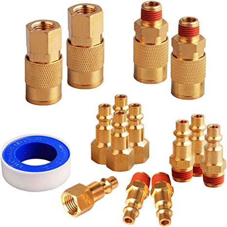 Type D 15 PCS 1//4 Inch NPT Air Coupler and Plug Kit Connect Air Tool Fittings