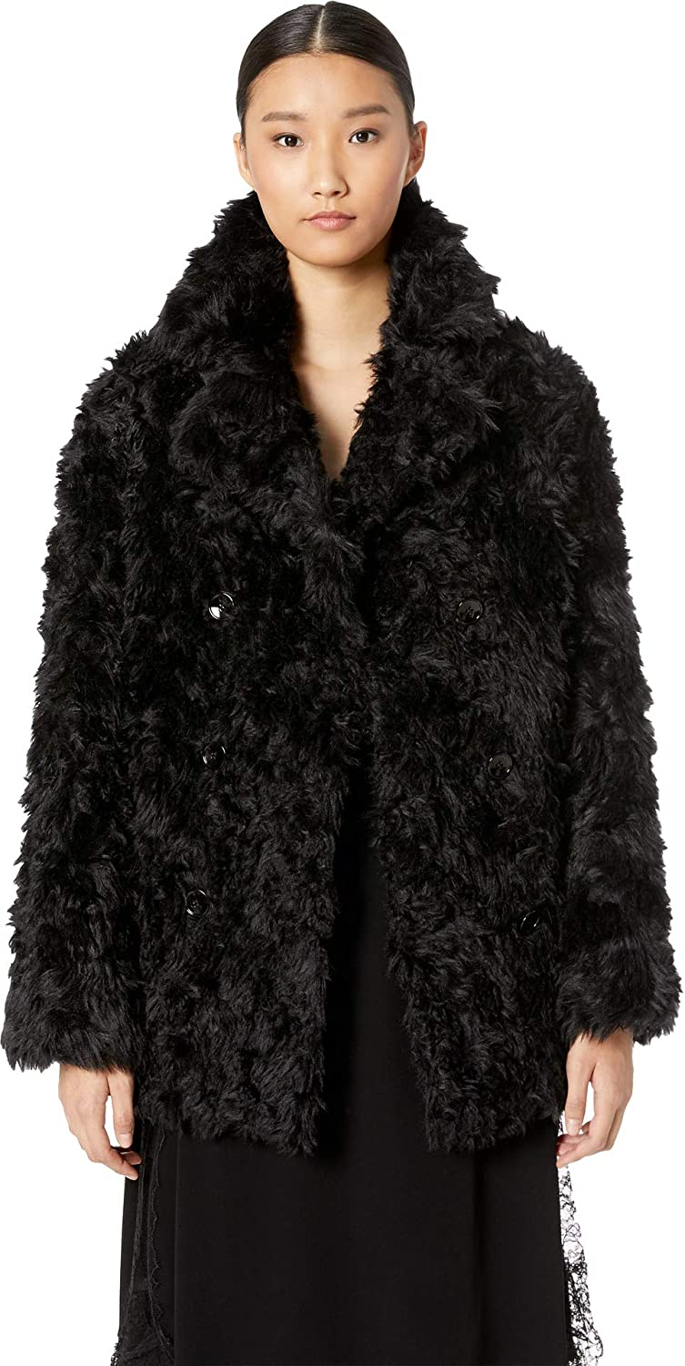 1a24aa1009d The Kooples Women's Fake Fur with Monochrome Boucl¿ Black 3 at Amazon  Women's Coats Shop