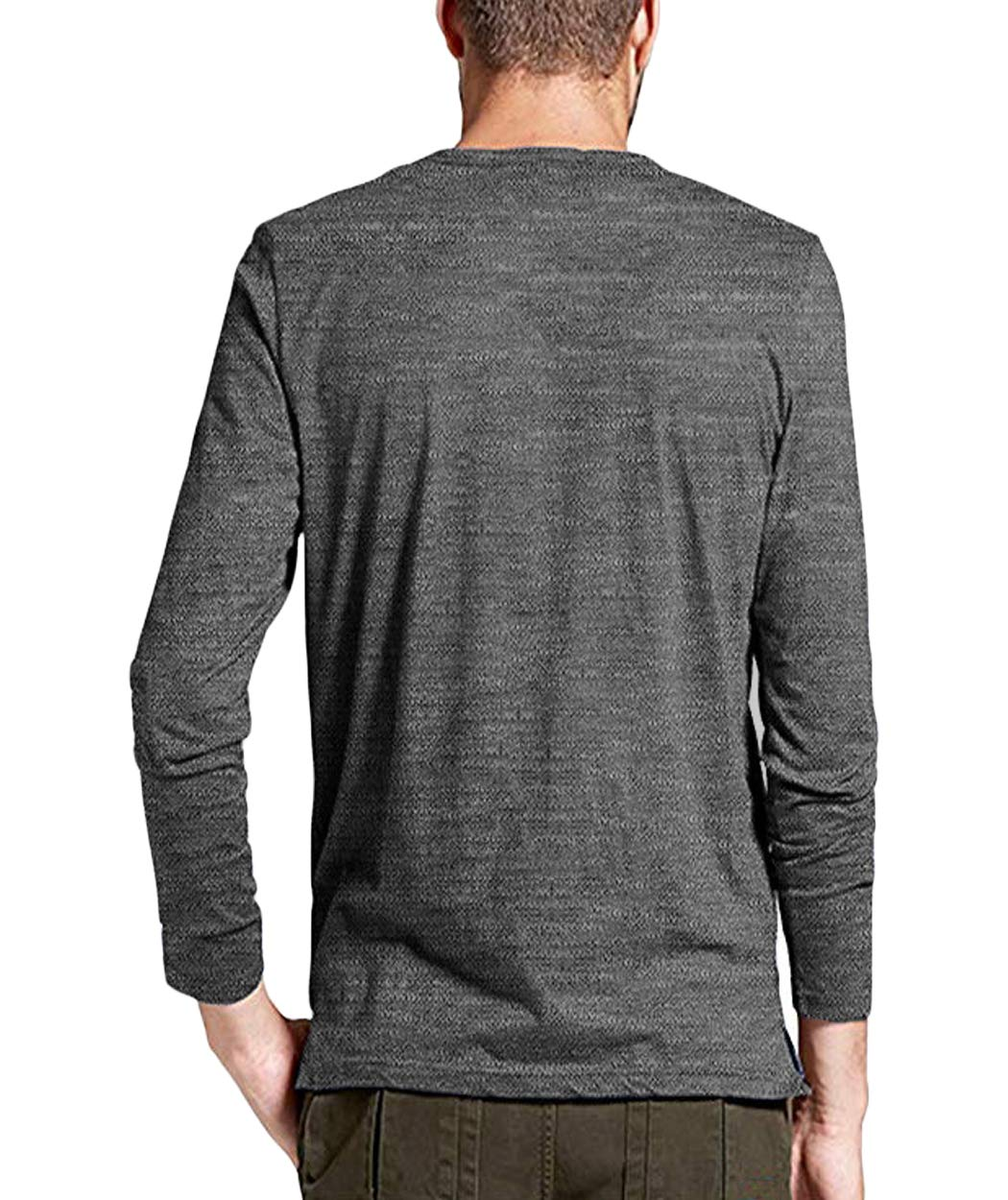 Neoyowo Men's Henley Shirt Casual Slim Fit Long Sleeve T-Shirt Soft V Neck Buttons Muscle Tops (Gray, M)