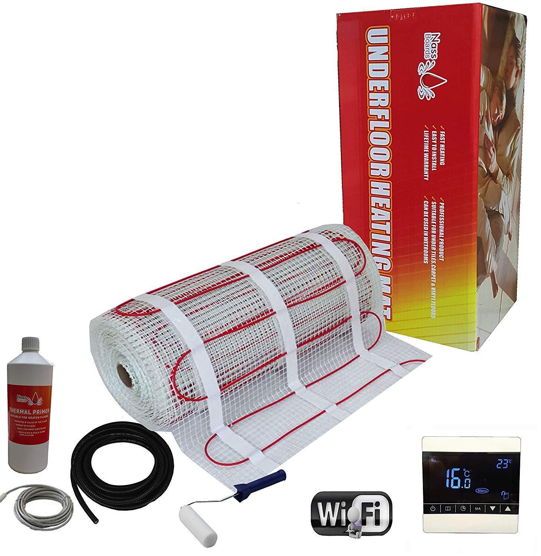 Nassboards Premium Pro Thermostat Noir WiFi Intelligent Kit de Tapis de Chauffage Au Sol /Électrique de 150 W 15.0m/²