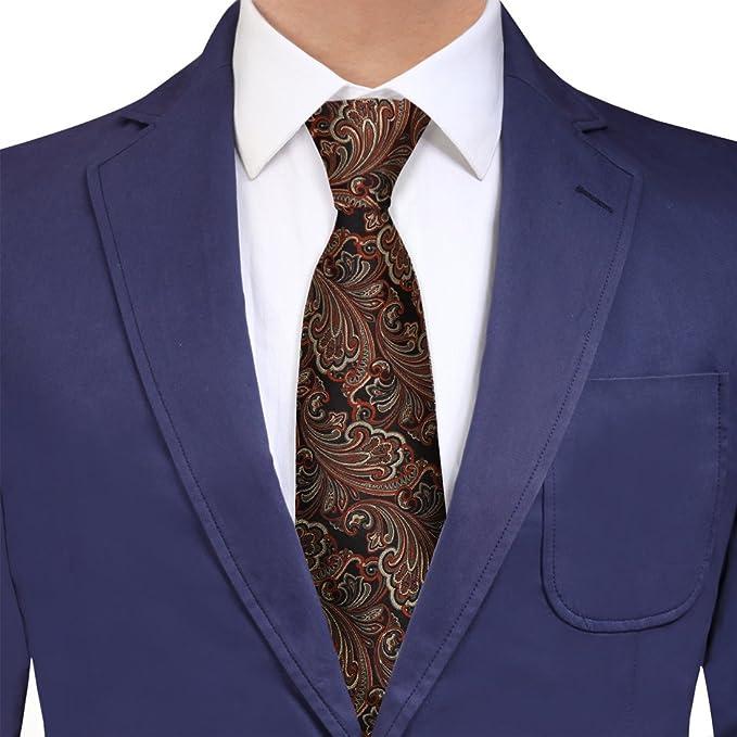 db540f745dd7 Y&G YAQB0040 Black Tan Orange Paisley Relationships Woven Jacquard Silk Tie  Best For Dad Neck Tie