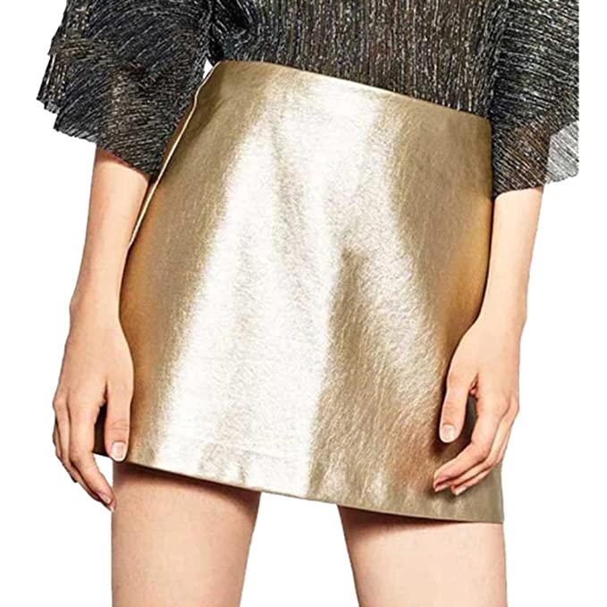 Siswong Moda Faldas Altas de Cintura de Cortas Cuero Mujer Faldas Grease Lentejuelas de Fiesta (