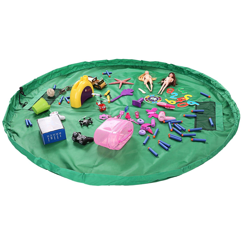 LEADSTAR 150cm Bolsa de Juguete Play Mat a prueba de Agua de Bolsa de Almacenaje para los Juguetes (Verde)