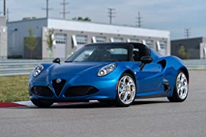 "Alfa Romeo 4C Spider Italia (2020) Car Print on 10 Mil Archival Satin Paper Blue Front Side Static View (18""x24"")"