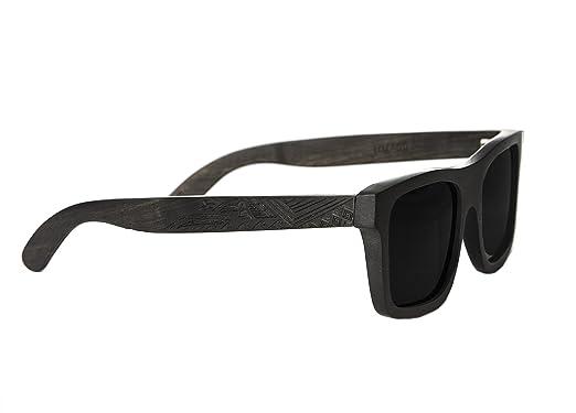 Gravierte Holz Sonnenbrille aus hochwertigem Ebenholz im MAORI DESIGN - Wicked Ares inklusive faltbarem Flip Case Etui und mit schwarz getönten Gläsern - für Damen und Herren qRNl7