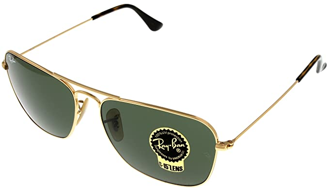 37e944aa1b5 Image Unavailable. Image not available for. Color  Ray Ban CARAVAN  Sunglasses Aviator Gold Mens RB3136 181