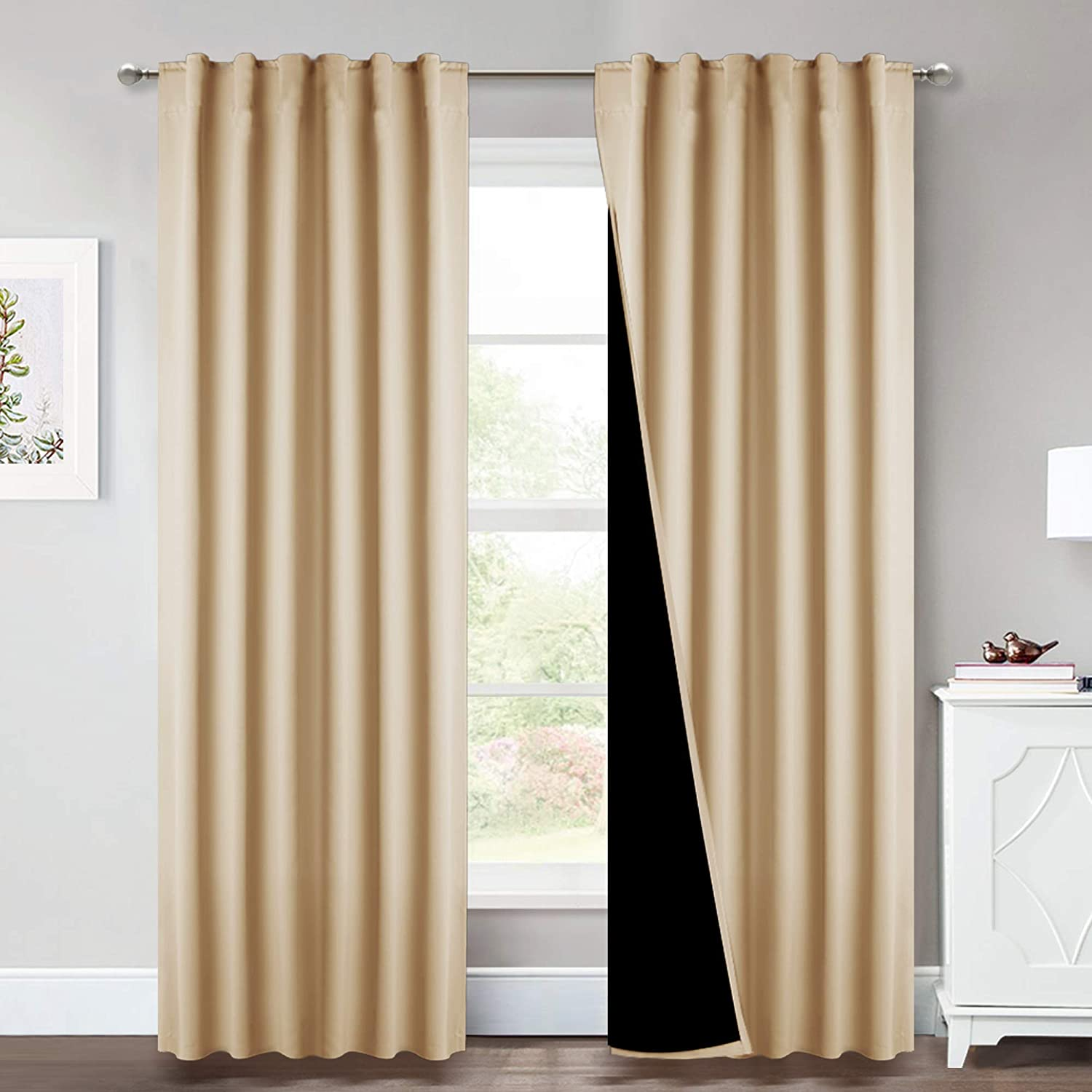 NICETOWN Thermal Insulated 100% Blackout Curtains, Multi-Function Noise Reducing Drapes with Black Lining, Full Light Blocking Drapery Panels for Patio (Biscotti Beige, 2 PCs, 52 inches x 95 inches)
