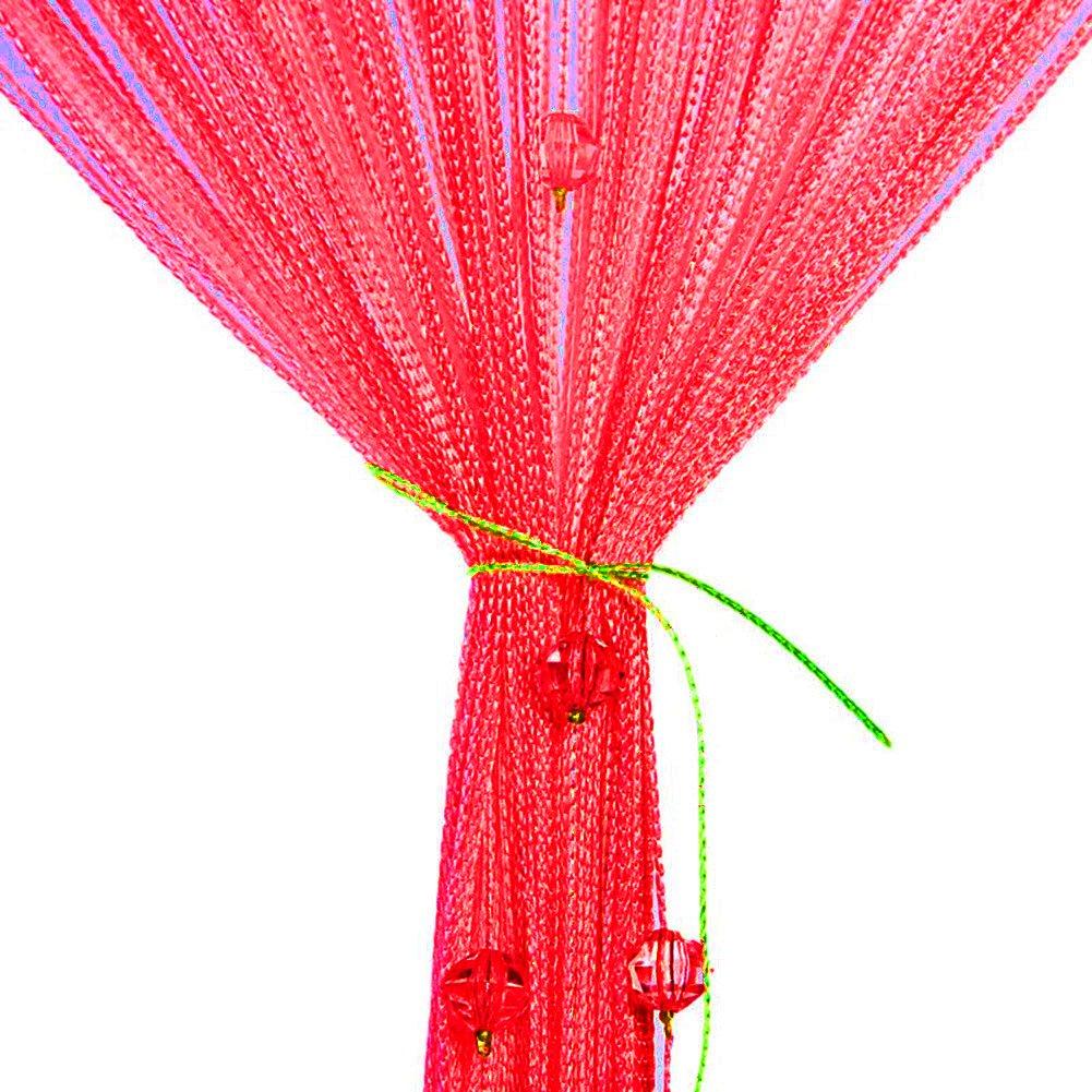 Rideau de porte, Coloré Perles Brillantes 100 x 200 cm Rideau à Cordes Rideau de fils pour porte/fenêtre Anti-insectes, ideau de moustiquaire, divise-pièce, mariage de Noël chambre de jardin (Champagne) Vidillo