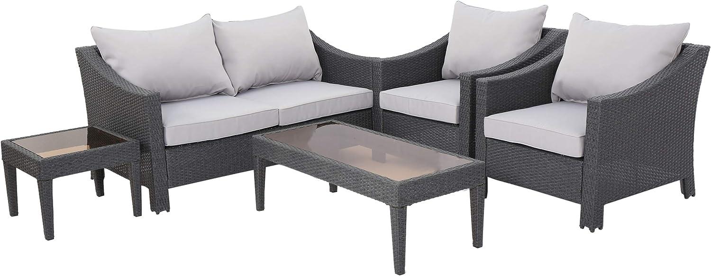Amazon Com Caspian 5 Piece Outdoor Wicker Furniture Patio Chat Set Garden Outdoor