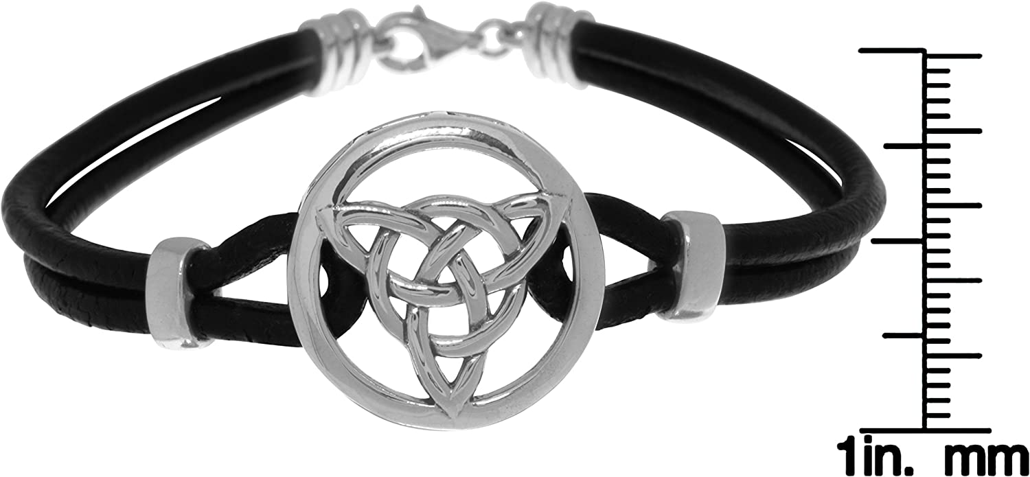 Celtic Trinity Knot .925 Sterling Silver Leather Cord Bracelet by Peter Stone