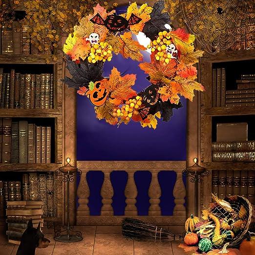 ahanzhu Guirnalda de Flores Artificiales de Halloween ...