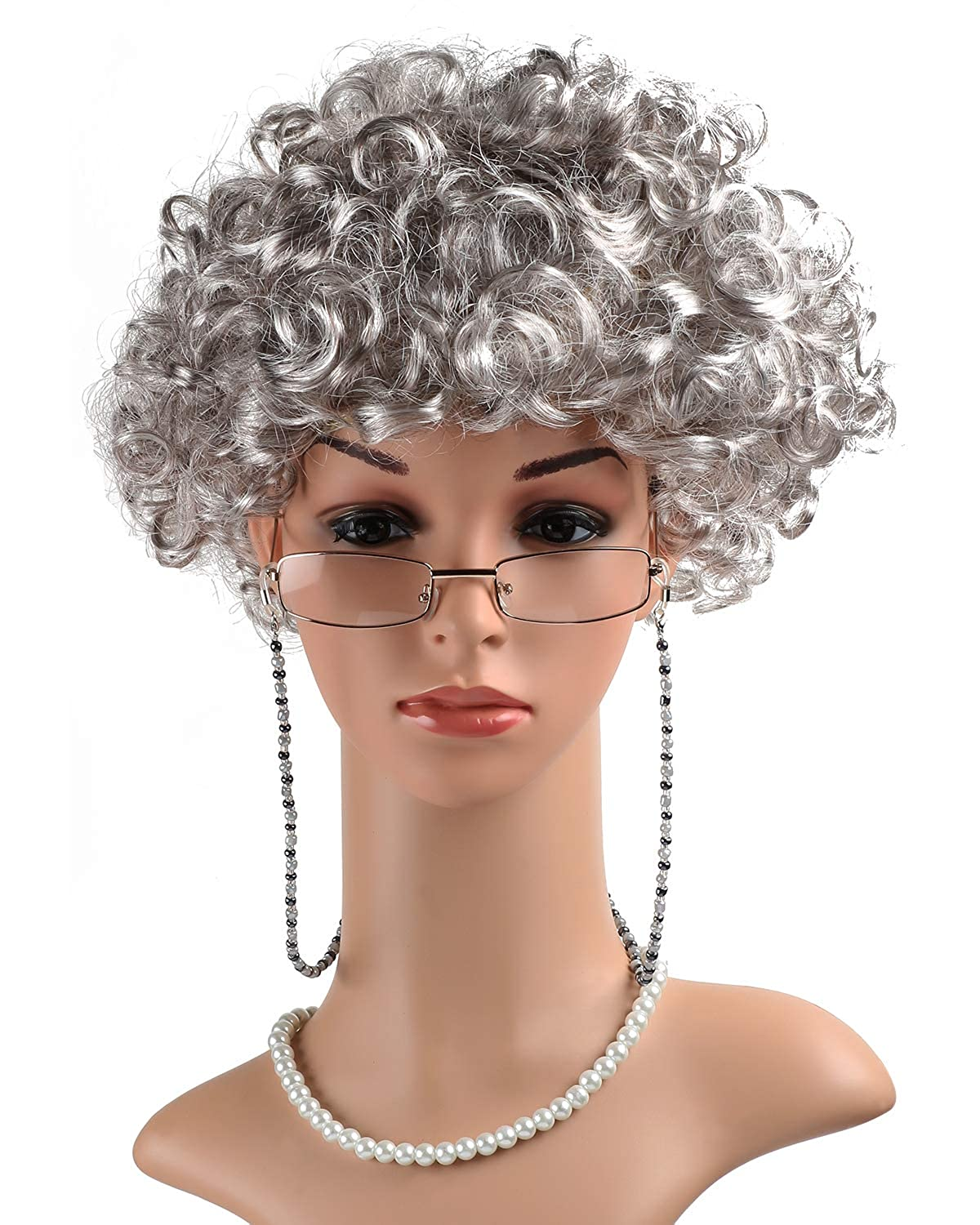 w//Round Glasses /& Pearl Necklace Beads Costume Accessories eforpretty Womens Cosplay Costume Old Lady Wig
