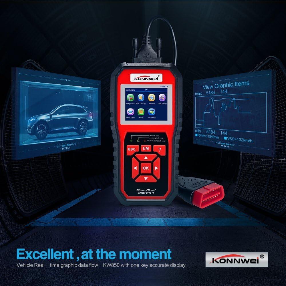 i//m/ KONNWEI Emebay KW850/Enhanced OBD II Lettore di codice Auto Scan Tool Check Engine Reader Automotive Colore Schermo Full OBD2//EOBD diagnostico Scanner con Funzione O2/Sensor Test /Rosso