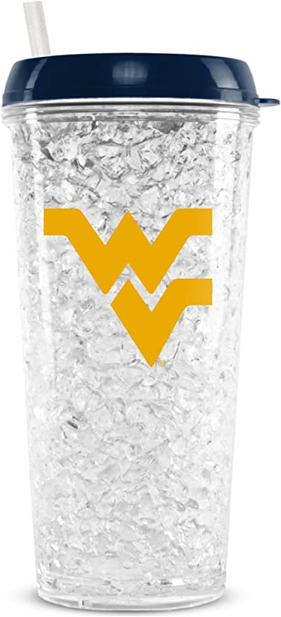 NCAA West Virginia Mountaineers 16oz Crystal Freezer Tumbler with Lid and Straw
