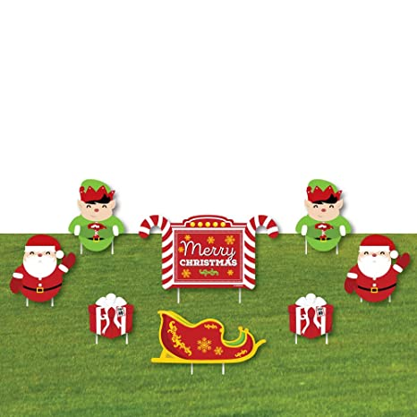jolly santa claus merry christmas yard sign outdoor lawn decorations christmas yard signs - Christmas Lawn Decorations Amazon