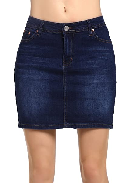 b16ec539cb Amazon.com: Beluring Womens Short Denim Jean Mini Skirt Dark Blue Sexy Pencil  Skirts: Clothing