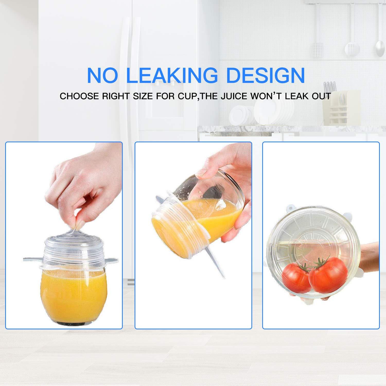 Tapa elástica de silicona, 12 PCS Reutilizable Fundas Protectoras para Alimentos Tapa Tazas, Paquetes de Varios TamañOs, Lavavajillas, Microondas, Horno y congelador, Sin BPA
