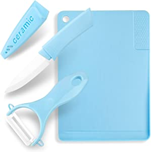 Multi-functional 3-Piece Kitchen Utensils, Ceramic Knives, Peelers, Cutting Boards, Garlic Grinding Area, Matte Cutting Board, Knife Peeler Cutting Board