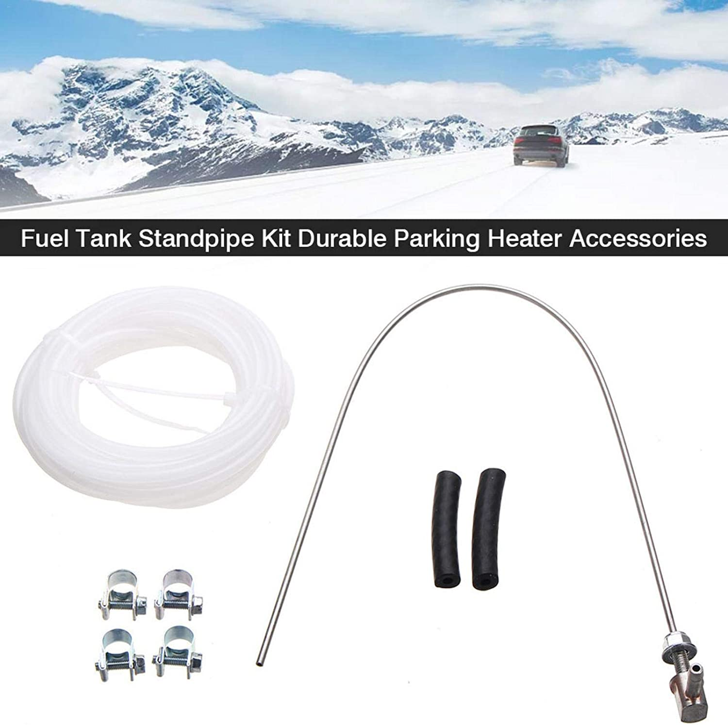 MiuMily Fuel Tank Standpipe Kit Fuel Tank Sender Stand Pipe Pick Up Fuel Pipe Pipe Clamps Fit Compatible for Parking Heater Webasto Eberspacher Heater