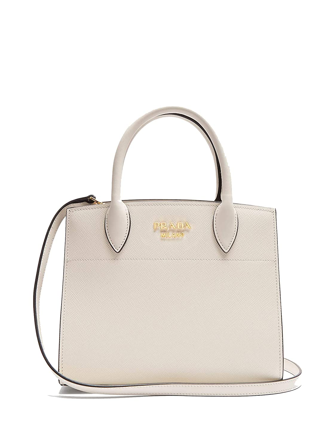 e377f20b64 Prada Saffiano City Leather White Handbag w Black Trim Bibliotheque Tote Bag  1BA049: Handbags: Amazon.com