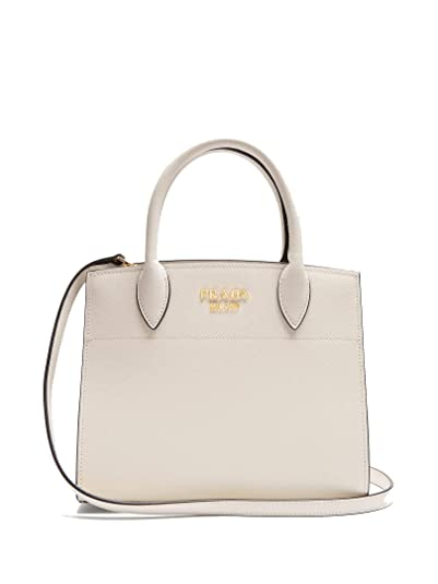 325ba3b40ef0 Image Unavailable. Image not available for. Color  Prada Saffiano City  Leather White Handbag w Black Trim Bibliotheque Tote ...