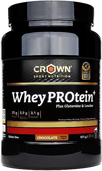 Crown Sport Nutrition Whey Protein - Concentrado proteína suero de leche con aminoácidos Leucina y Glutamina con certificado antidoping Informed sport