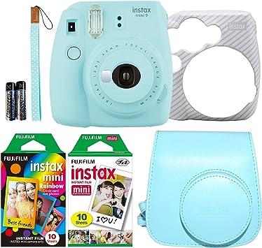 Fujifilm Instax Mini 9 - Cámara instantánea de color azul hielo con dos paquetes de película divertida, una arco iris y una blanca, 20 exposiciones con accesorios: Amazon.es: Electrónica
