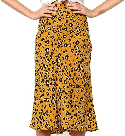 Shenye - Falda Larga para Mujer con Estampado de Leopard Antiguo ...