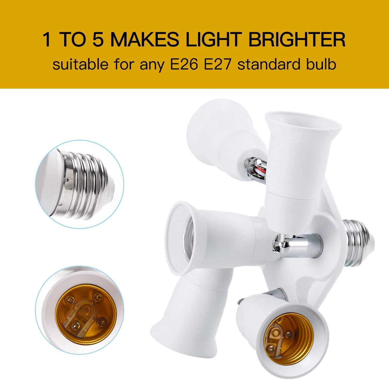 JACKYLED 3 in 1 Light Socket Splitter E26 E27 Adapter Converter for Standard LED Bulbs 360 Degrees Adjustable 180 Degree Bendable Max Watt 180W