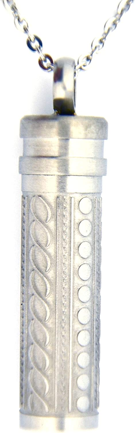 Heartfelt Fancy Cylinder Cremation Jewelry Necklace Urn Memorial Keepsake Pendant for Ashes with Funnel Fill Kit