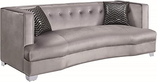 Caldwell Velvet Sofa Silver and Chrome