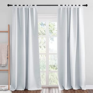 NICETOWN Room Darkening Curtain Panels - Home Fashion Tab Top Thermal Insulated Room Darkening Curtains for Bedroom/Nursery (2 Panels, 52 inches W x 95 inches, Greyish White)