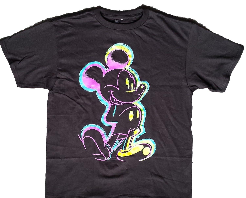 2a08f9dfe Amazon.com: Disney Mickey Mouse Kid's Black Neon T-Shirt: Clothing