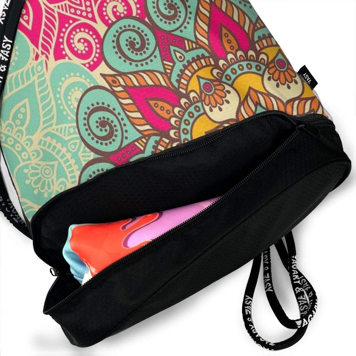 GymSack Drawstring Bag Sackpack Colorful Flower Sport Cinch Pack Simple Bundle Pocke Backpack For Men Women
