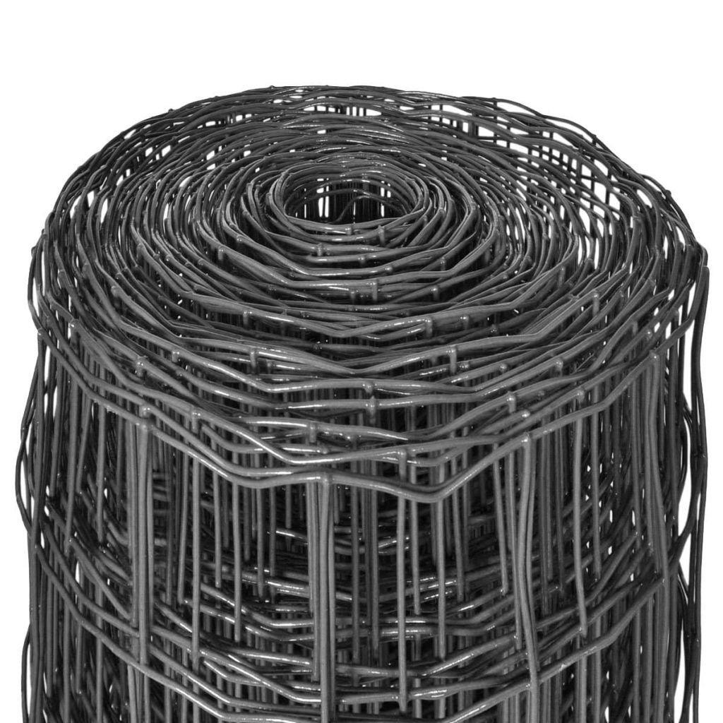 vidaXL Gartenzaun 25x1,5m 100x100mm Grau Gitterzaun Wildzaun Maschendraht Zaun