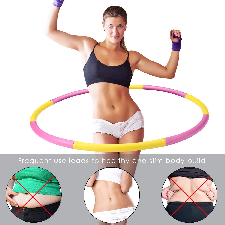 88 cm beschwerter Hula-Hoop-Reifen f/ür Fitness Hula Hoop zur Gewichtsreduktion,Reifen mit Schaumstoff 1,3 kg Gewichten Einstellbar Breit 48 4 Knoten Rot + Gelb