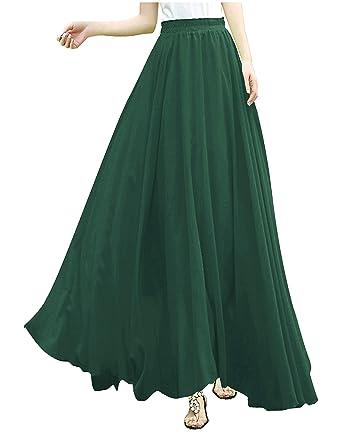 73adc1677995d V28Women Full Ankle Length Elastic Pleated Retro Maxi Chiffon Long Skirt  (XS
