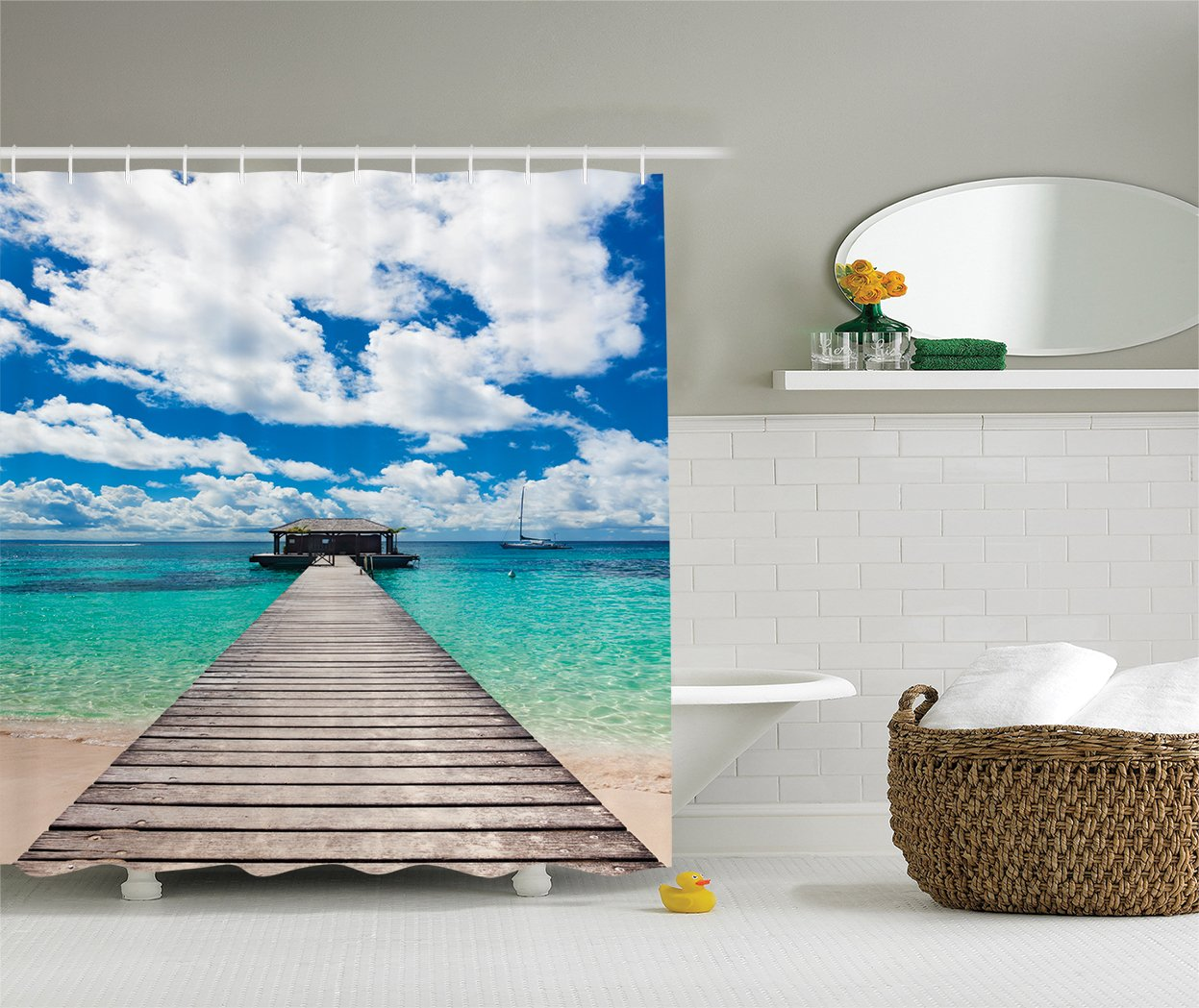 Turquoise Blue Ivory Caribbean Seascape Jetty and Sailboat Cloudy Sky Clear Ocean Picture Ambesonne Wooden Bridge Decor Collection Polyester Fabric Bathroom Shower Curtain Set with Hooks
