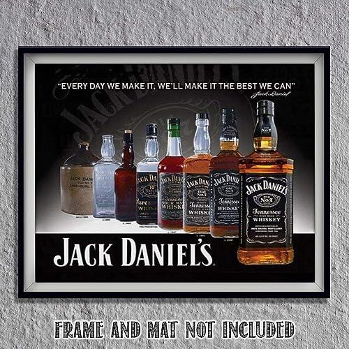 Gift ART PRINT Jack Daniels illustration Alcohol Wall Art Whisky Bottle