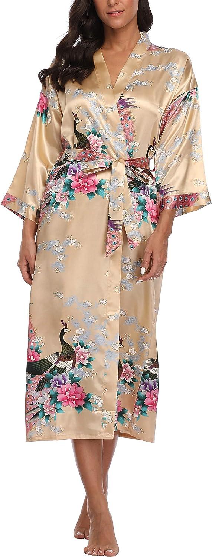 Womens Peacock Long Satin Bathrobe Kimono Nightgown Long Dress Gown