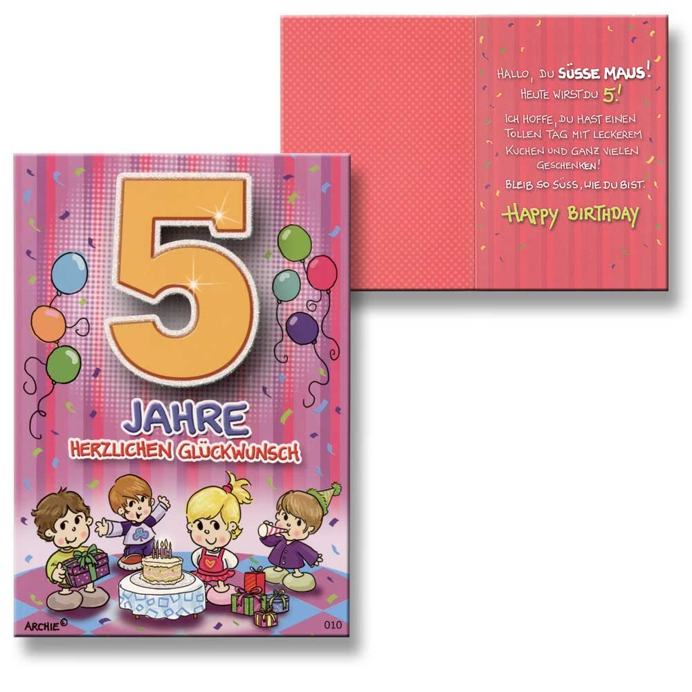 Archie Zum Lila New Baby Card Extra 5th Birthday Girl Birthday Card