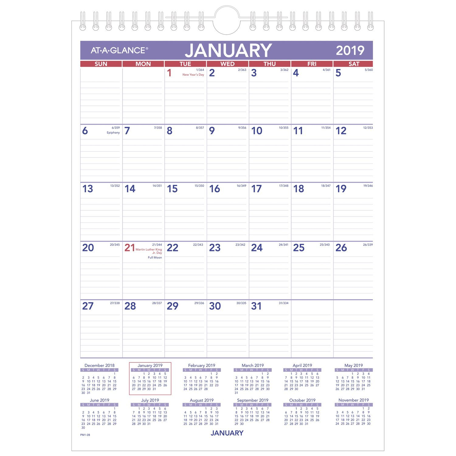 at-A-Glance PM128-18 Monthly Wall Calendar, January 2019 - December 2019, 8'' x 11'', Wirebound, Mini Size (PM128)