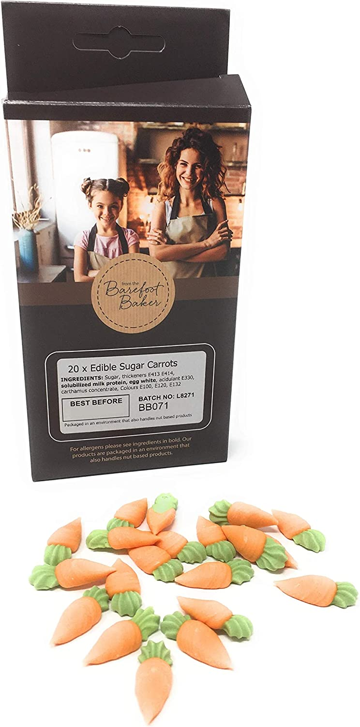 20 x Edible Sugar Carrots Topper Decorations for Cakes Cupcakes