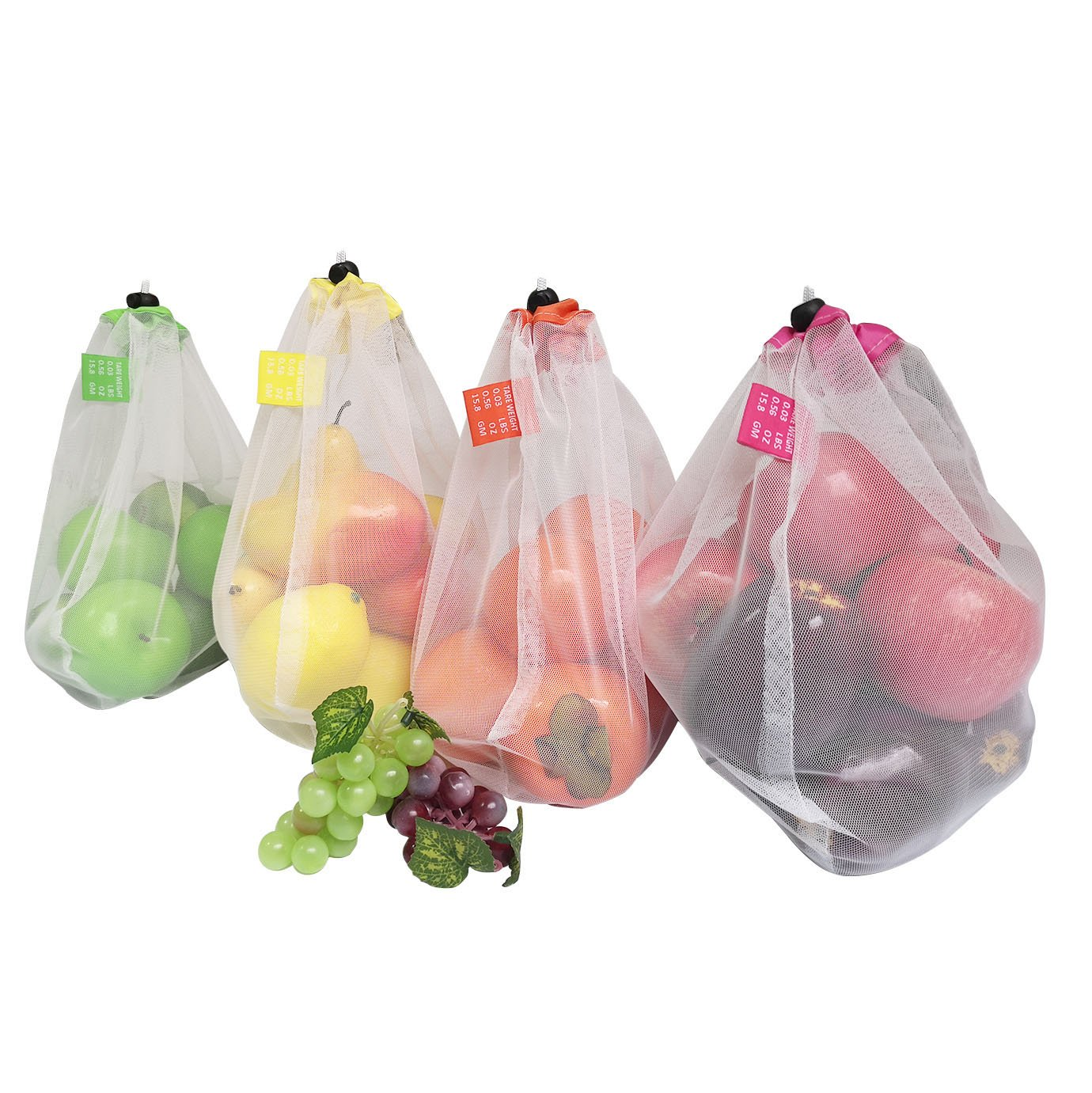 Brotrade Reusable Mesh Produce Bags-Washable Set of 10 Premium Bags Transparent With Tare Weight on Tags for Shopping Storage,Toys Fruit and Vegetable one Size 11'' X 13.5'' by Brotrade (Image #6)